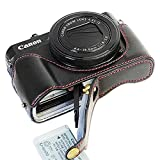 FIRST2SAVVV XJD-G7XII-D01 黒 Canon PowerShot G7 X Mark II .G7X M2 専用 PU 半分レザー レフ カメラバッグ カメラケース