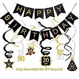 30歳の誕生日デコレーション メンズ レディース (すでに組み立て済み) 30歳の誕生日 バナー 渦巻き飾り スパークリングセレブレーション吊り下げ渦巻き ゴールドシルバーブラック 30歳のパーティー用品