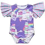 (プタス)Putars新生児ベビーボーイズ女の子用コットンレインボープリントフリルロンパープレイセットセット3ヶ月-18ヶ月