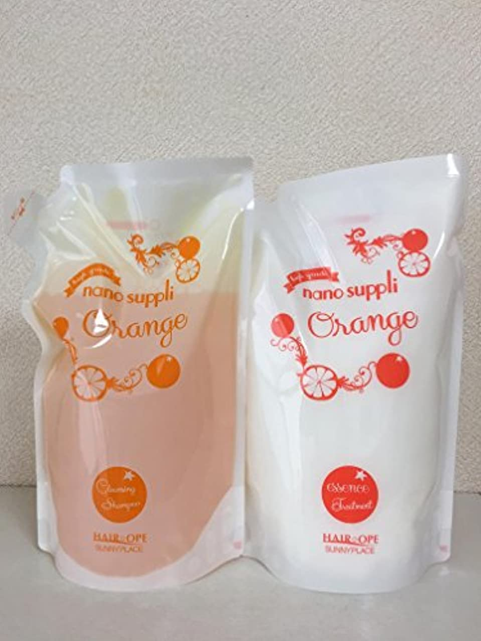 産地夏小説サニープレイス ナノサプリ クレンジングシャンプー&コンディショナー オレンジ 800ml詰替えセット