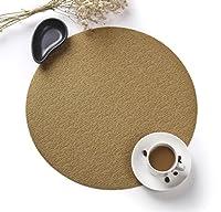 HYSENM プレースマット 上品 ランチマット 手編み 断熱 円型 おしゃれ 食卓の雰囲気を転換 コースター 四枚セット 直径38cm/35cm ゴールド