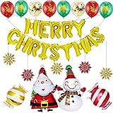 Burning Go 22点セット クリスマス 飾り バルーン サンタ アルミバルーン 雪だるま 風船 飾り付け セット 空気入れ 吊り飾り DIY パーティー 部屋 飾り 学園祭 デコレーション 雰囲気 おしゃれ