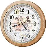 SEIKO CLOCK (セイコークロック) 掛け時計 ミッキーマウス ミニーマウス 電波 アナログ からくり 6曲メロディ ミッキー&フレンズ Disney Time(ディズニータイム) 薄茶マーブル模様 FW561A