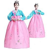 韓国 民族衣装 チマチョゴリ 豪華 オシャレ コスプレ パーティードレス  服装 コスチューム ハロウィン (M, ピンク+ブルー)