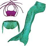 ガールズ 水着 人魚 3点セット マーメイド テール 夏 キッズ 子供 ベビー コスチューム 人魚姫 着やせ 海 泳ぎ みずぎ 可愛い スイムテール カジュアル ファッション (130 パープル + グリーン)