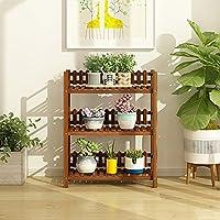 暗い茶色のフラワーラック木製の屋内屋外の植物スタンド着陸多段フラワーディスプレイ棚バルコニー用居間ガーデンフラワースタンド (サイズ さいず : 3-TIER)