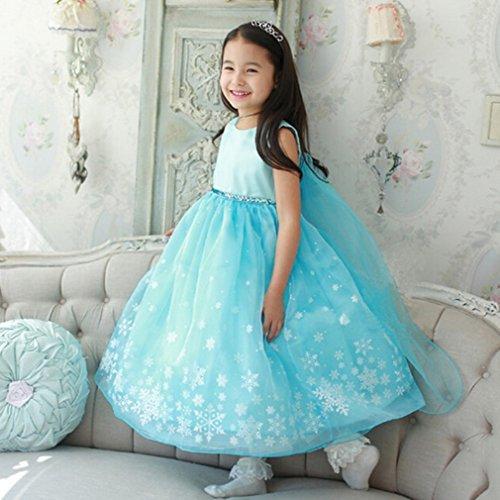 アナと雪の女王 エルサ風ドレス 子供可愛いプリンセスワンピース ガールズ 素敵 発表会 結婚式 誕生日プレゼント ブルー 110cm