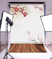 5x 7ft写真バックドロップNice木製床と美しい植物パターンビニール背景Studio小道具 5x7ft JLSW00008D