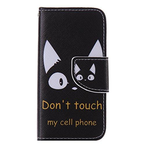 iPhoneSE 5s 5 ケース  iPhoneSE 5s 5 カバー  スマホケース 手帳型 ケース デザイン手帳  アイフォンSE 5S 5 ケース  猫【MEIKI】 ストラップホール付き スタンド機能付き スマホカバー マグネット付き 汚れにくい シンプル カード収納 TPU 耐衝撃 男子 レディース用 黒 (iphoneSE/5S/5, M12)