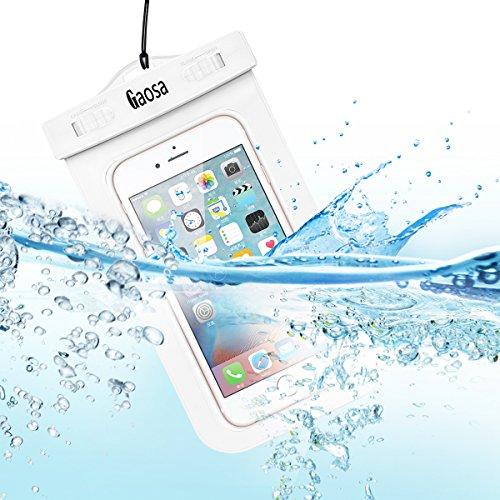 Gaosa 大きめサイズのスマートフォン用防水ケース 海 プール お風呂 旅行 山登り iphone6/6s/6 plus/5/5c/5s適用 透過率高い 防水保護等級水深20m 高級感 ネックストラップ付属 (ホワイト)