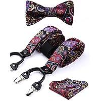 HISDERN Suspenders for Men Y-Back Adjustable 6 Clip Buttons Floral Paisley Suspenders & Bowtie & Pocket Square 3PCS Set Unisex Braces Rubber Bands for Wedding Party Prom