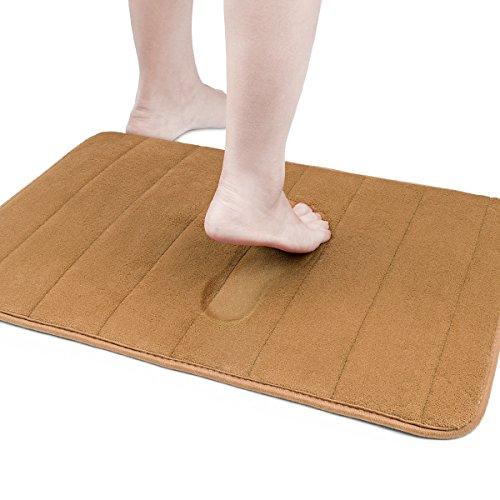 バスマット ふかふか 足吹きマット キッチン 玄関 マット 低反発 滑り止め 洗え 超吸水 速乾 60×43×1cm (ブラウン)