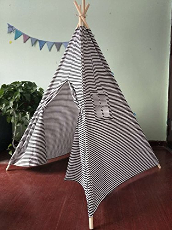 Small boy smallブラックとホワイトストライプキャンバスPlay Teepee Tent for Kids 100 %コットンby Tiny Land Smallブラック/ホワイト