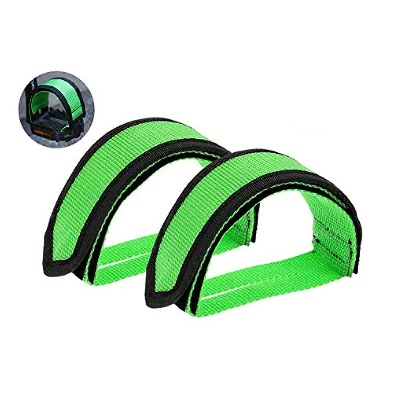 決めます電気陽性夜RETYLY 1ペアxペダルストラップ、フットペダルストラップ 子供用ペダルストラップ バイクペダルストラップ バイク用フットストラップ(グリーン)