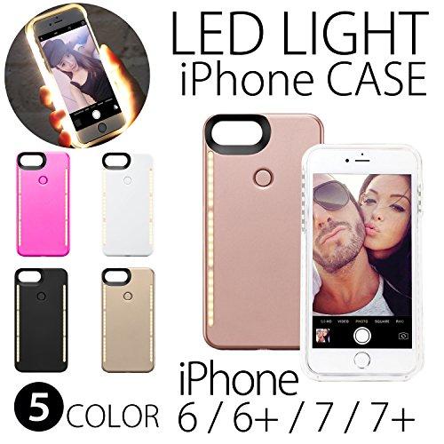 [ym] MRG LED ライト付 iPhone ケース 6 6s 7 7s 対応 自撮り 光る メイク (iPhone6plus・iPhone7plus用, ゴールド)