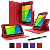 rooCASE Google Nexus 7 2013 FHD Case - (2nd Gen 2013 Model) Dual-View Multi-angle Stand Cover - RED (With Auto Wake / Sleep Cover)