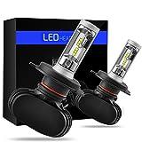 「SUPAREE」H4 led ヘッドライト Hi/Lo S1 LED ヘッドライト 車検対応 韓国CSPソールチップ 12V専用 6500k ファンレス 無音 4000lmX2 25WX2 防水 高輝度 高寿命 取り付け簡単 2本1セット 一年保証付き