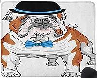 ビンテージ帽子と蝶ネクタイのスケッチ動物と純血の流行に敏感な犬、ブラウンブラックブルーマウスパッド楽しいゲーミングマウスパッド、滑り止めマウスパッド