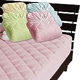 メーカー直販 綿タオル地 一体型ボックスシーツ 新型なかわた入り シングル 100×200×30cm (ピンク)