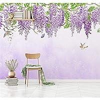 Ljjlm 3D現代手描きの壁紙アート壁の壁画のリビングルームのソファーの背景テレビの壁紫のつる壁画の壁紙の装飾-160X120CM