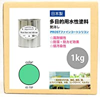 屋外用 多目的用 水性塗料 45-70Pミントグリーン 1kg/艶消し 内装 外装 壁 屋内 ファインコートシリコン つや消し 多用途