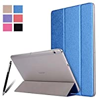 Huawei MediaPad T3 10.0 ケース手帳型半透明 PC + PUカバー三つ折横開き 開閉式 超薄型 最軽量 スタンド機能付き Huawei MediaPad T3 10.0 全面保護型6色可選( ブルー)