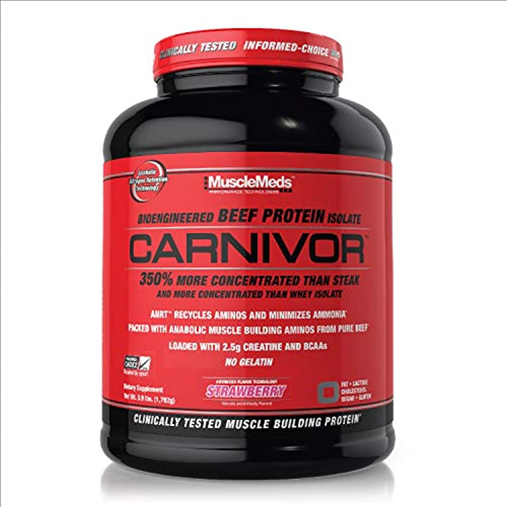 珍味ハリウッド努力MuscleMeds Carnivor Beef Protein Isolate Powder, Strawberry(ストロベリー)- 3.9lbs(1792g)