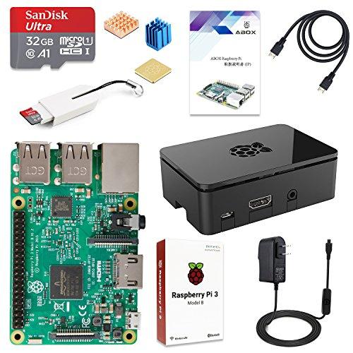 ABOX Raspberry Pi3 Model B ボード&専用ケースセット ラズベリーパイ 3 モデル B 32GB(class 10) 豊富な付属品 日本語説明書 ブラックケース【本体+コンプリートスターターキット】