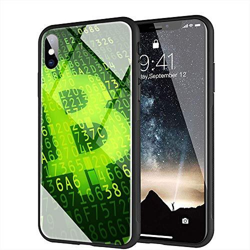 iPhone XS Max ケース, と互換性のある強化ガラスバックカバーソフトシリコンバンパー iPhone XS Max AMA-16 BTCビットコイン