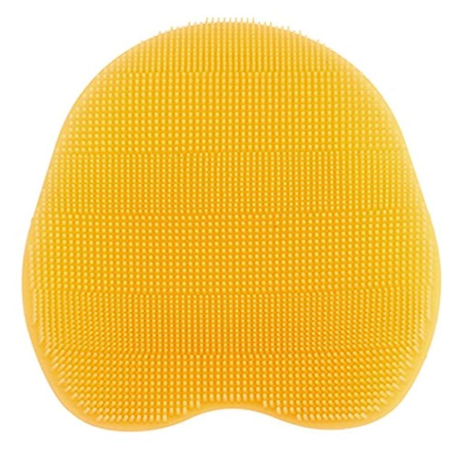 正午れる百万Kapmore シリコンブラシ ウォッシュ ボディブラシ マッサージ シャワー 肌にやさしい 体洗い 風呂 フットケア 4色選択可能 衛生 角質取り 毛穴清潔 泡立ち 多機能 (イェロー)