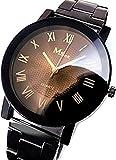 【ノーブランド品】 腕時計 ビッグフェイス ブラック×ブラウン ローマ数字 tvs237