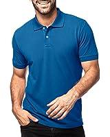 (ラパサ) Lapasa ポロシャツ メンズシャツ 半袖 無地 カジュアル 6色 (S(USサイズ)=日本サイズM相当, ブルー)