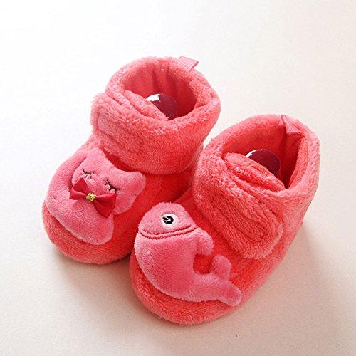 Sawors ベビー 赤ちゃん 靴下 靴 ソックス かわいい 保温ソックス ブーティー シューズ 厚手 出産お祝い ギフト 部屋靴 3色 乳幼児 男の子 女の子用 (L:1歳~2歳, レッド)