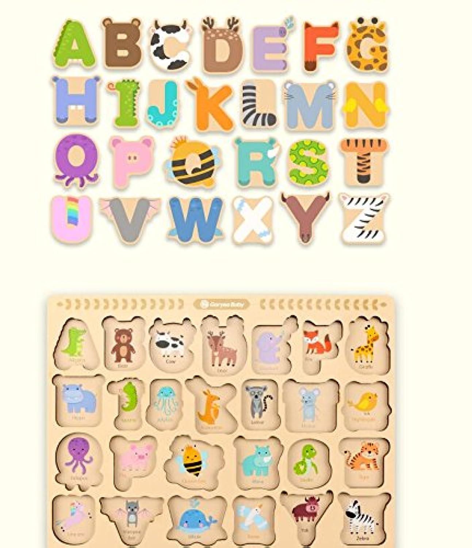 HuaQingPiJu-JP 子供のための素敵な木製の就学前の単語認知ボード教育パズル