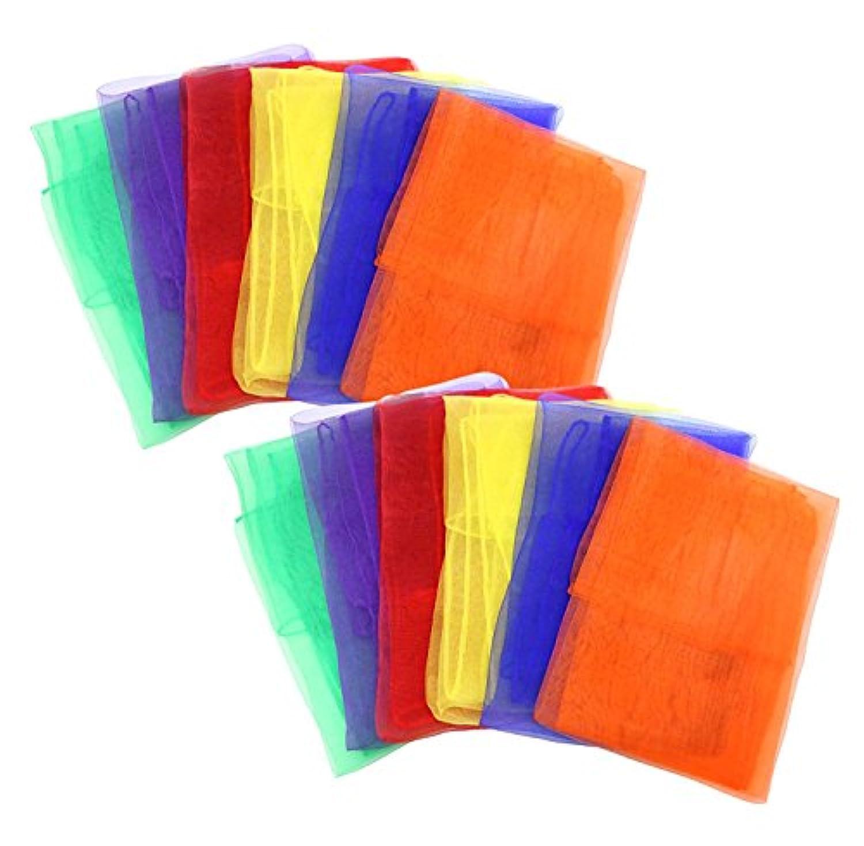 カラー シフォン 浮遊 スカーフ 6色 12枚 カラフル セット 子ども スカーフ遊び リトミック 音楽療法 ダンス お遊戯 子ども 遊び レクリエーション リハビリ 運動 ジャグリング などに
