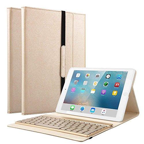 KVAGO iPad Pro 10.5 キーボード ワイヤレスBluetoothキーボード 7色バックライト 手帳型 キーボード取り出し可能 スタンド機能付き 良質PUレザーケース iPad Pro 10.5カバー