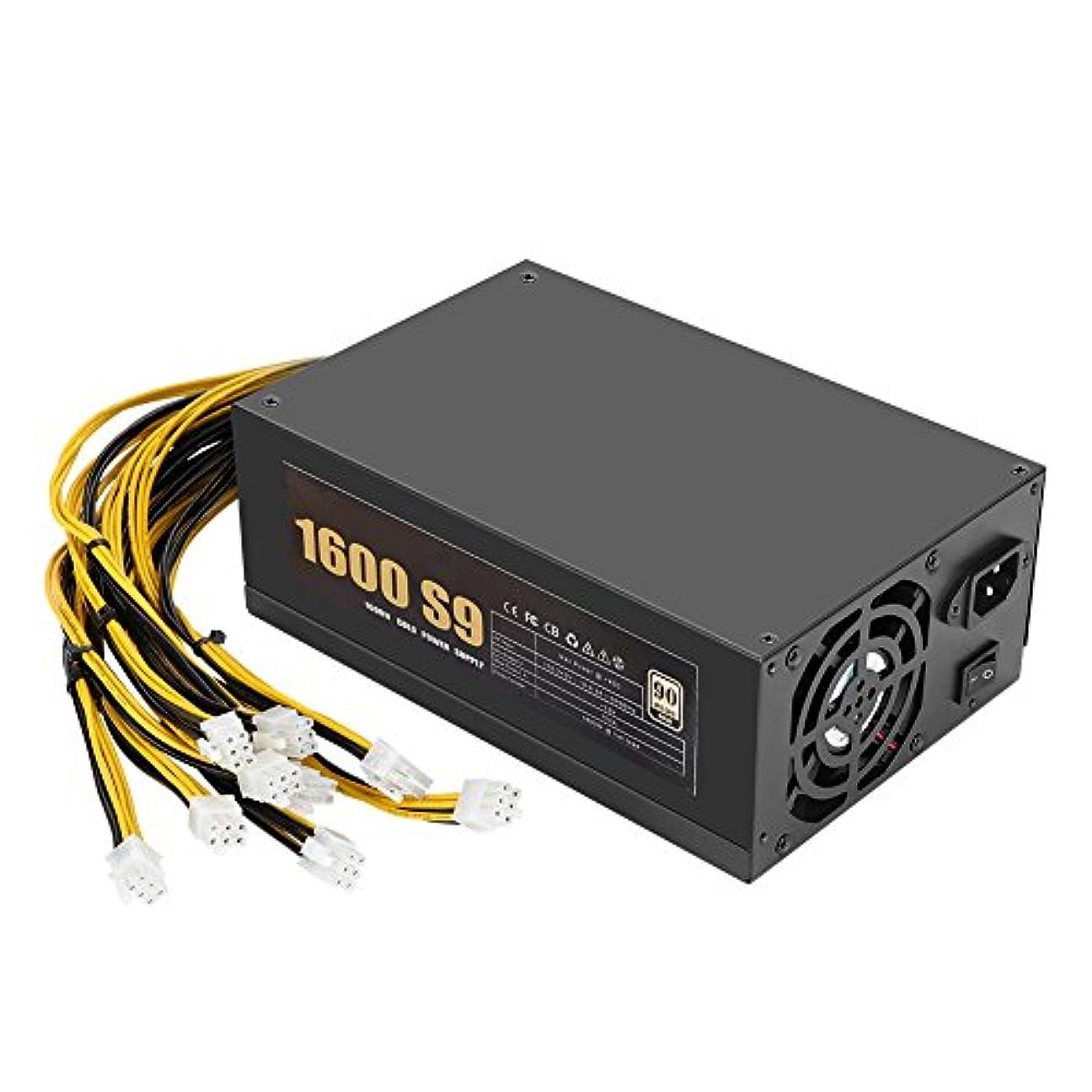 人形忍耐神Fosa 1600W 160-240Vマイナー電源、92%高効率ファンPSU電源、Bitcoin/ETH / Ethereumマイナーマイニングマシン用 10 * 6Pinケーブル付き