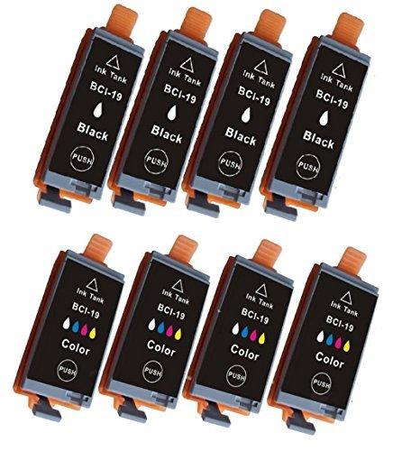 【合計8本】 【 ブラック×4本+カラー×4本 】Canon 互換インクカートリッジ BCI−19BK&19C ※ICチップ付きCANON PIXUS iP100, PIXUS mini360, PIXUS mini260