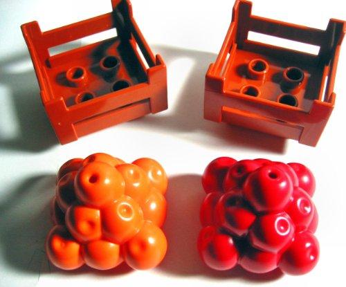 LEGO DUPLO 2xダークオレンジDuploコンテナwooden-styleクレート+オレンジ+レッドFood FruitピラミッドLoose