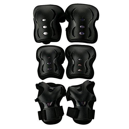 WinLine キッズプロテクター 膝/肘/手首 自転車 スケートボード キックボード 保護に 6点セット 3色 (ブラック)