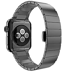 山崎屋新作 Apple watchバンド アップルウォッチステンレスベルト ビジネス用 Watch Sport交換 ベルト 38mm/42mm 男性 プレゼント(42㎜, ブラック) [並行輸入品]