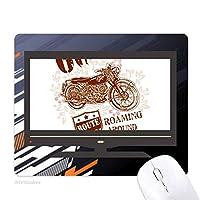 オートバイの花文パターンのイラスト ノンスリップラバーマウスパッドはコンピュータゲームのオフィス
