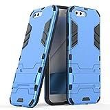 Ougger Asus Zenfone 4 ZE554KL カバー ケース エクストリーム保護 衝撃吸収性 [スタンド] 鎧 硬い PC + ソフト TPU 緩衝ゴム 2in1 カバー (青)