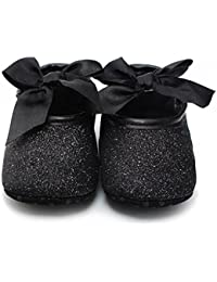 Ecosin Baby Girl Soft Sole Bowknot Bling Bling Shoes Prewalker Socks Sneakers (11/0-6months, Black) by Ecosin