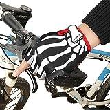 hfeweng アウトドア/キャンプ/サイクリング/オートバイ/ハイキング/スキー/乗馬(ベルクロの手首調節可能)メンズレディースウィメンズウォームスケルトングローブハーフフィンガー自転車グローブ