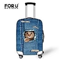 [FOR U DESIGNS]個性的な柄 伸縮素材 Spandex  スーツケース ラゲッジカバー luggage cover 旅行カバンカバー トランクカバー Lサイズ ネコ4