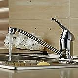 Auralum キッチン用混合栓 シングル レバー 蛇口 台所 シンク 洗面台 水栓 注ぎ口24CM 取り付け 40cm ホース 付き