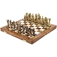 Chessncrafts Brass Regular Roman Chess Set, Perfect For Gifting, Self-Use, Foldable Set, Board