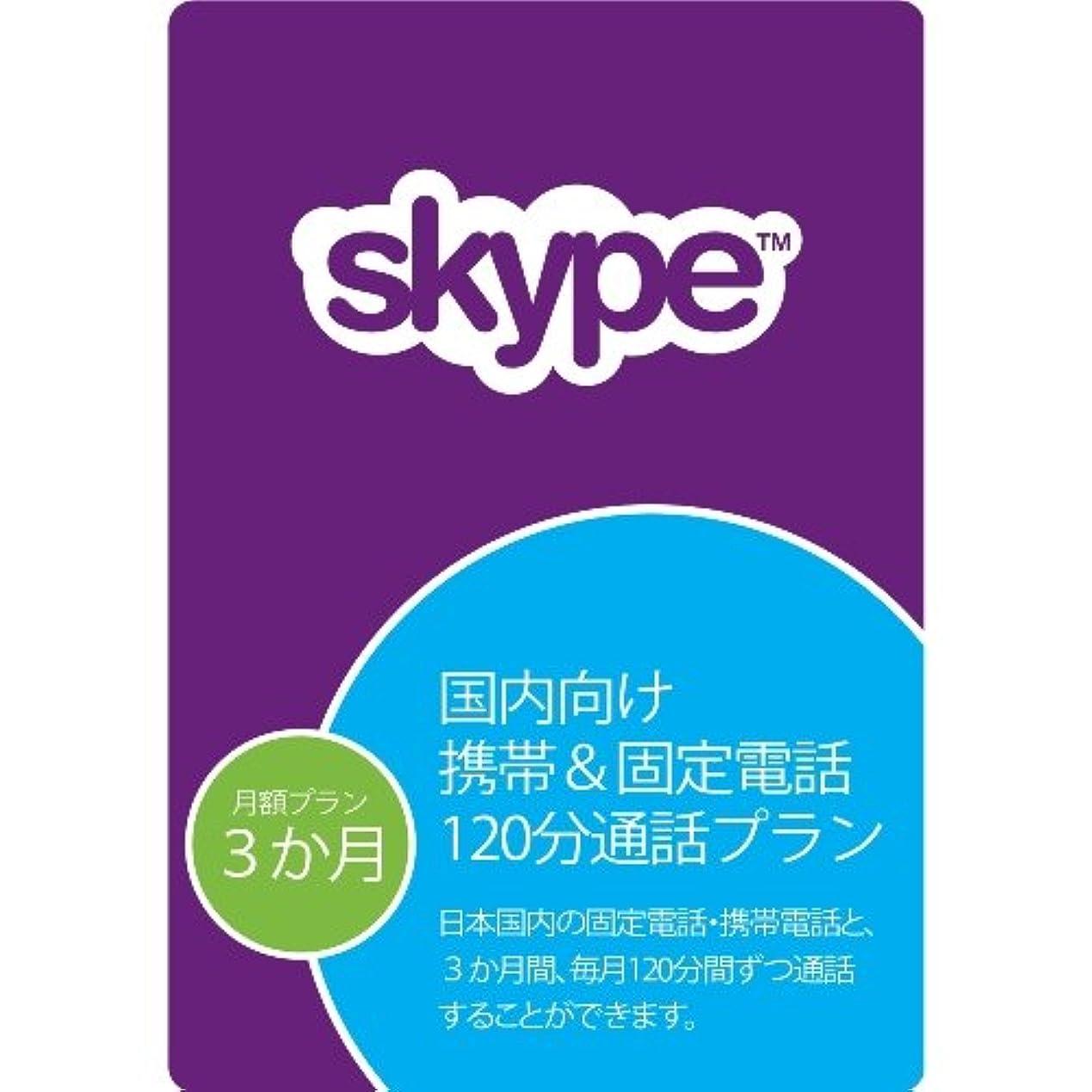 Skype 国内向け 携帯&固定電話毎月120分通話プラン(3か月使い切り)|オンラインコード版