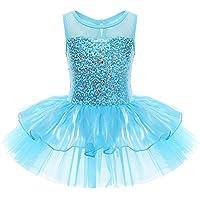 YiZYiF Girls Kids Sequins Ballet Dance Dress Gymnastics Tutu Leotard Clothes